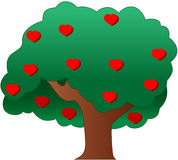 Tree of hearts. Vector illustartion of a tree with hearts Stock Photos