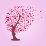 Tree with hearts. Abstract tree design with multi-colored hearts on a pink background Vector Illustration