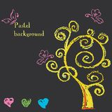 Tree and hearts. Background painted pastel crayon. Royalty Free Stock Photography