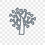 Tree with hearts concept vector linear icon isolated on transparent background, Tree with hearts concept transparency logo in out stock illustration