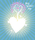 Tree Hearts frame Illustration of a Valentines Day Stock Images