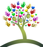 Tree of hearts hand figures Stock Photo