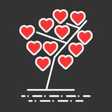 A tree with hearts. Happy Valentine`s day. vector illustration for banner, template, poster, web. Color thin line image. Of heart icon Royalty Free Stock Images
