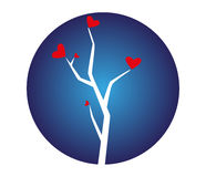Tree with Hearts Illustration Royalty Free Stock Images