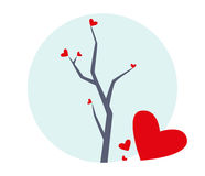 Tree with Hearts Illustration Stock Photography