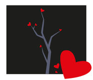 Tree with Hearts Illustration Royalty Free Stock Photography