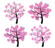 Tree with hearts. The image of four trees with crown of hearts Royalty Free Stock Photo