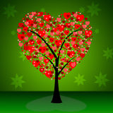 Tree Hearts Indicates Valentine's Day And Forest. Tree Hearts Showing Treetop Passion And Environment Royalty Free Stock Photography