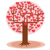 Tree with hearts instead of leaves. Tree with red hearts instead of leaves. The way of love vector illustration