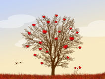 The tree with hearts of love Royalty Free Stock Photos