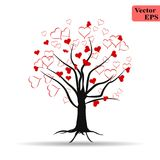 Tree hearts love romantic icon illustration design. Valentine design. Love tree with hearts. stock illustration