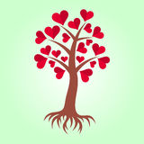 Tree with hearts and roots Royalty Free Stock Photography