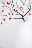 Tree of Hearts in the Snow Stock Photo