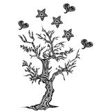 Tree with hearts and stars  in tattoo style. Tree with hearts and stars on a white background in tattoo style Royalty Free Stock Photos