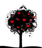 Tree with hearts and storks. Abstract colorful tree with hearts and storks. Nature decoration Royalty Free Stock Photo