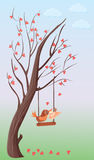 Tree of hearts and two love birds on a swing. Illustration of a tree covered with hearts instead of leaves. There is a swing on one of its branches where two Stock Photography