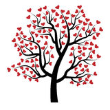 Tree with hearts. Valentine tree with red hearts isolated on white background. Beautiful love plant. Vector illustration Royalty Free Stock Images
