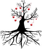 Tree with hearts and the word LOVE Stock Photo