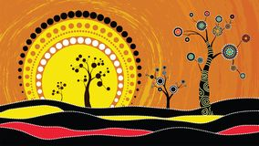 Tree on the hill, Aboriginal tree, Aboriginal art vector painting with tree and sun. Illustration based on aboriginal style of dot. Background Royalty Free Illustration