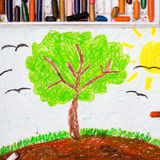 Tree on the hill. Colorful drawing: Tree on the hill stock photography