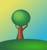 Tree on a Hill. During sunrise stock illustration