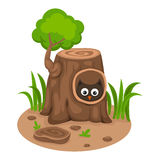 Tree hollow with an owl on a white background,vector Royalty Free Stock Photos