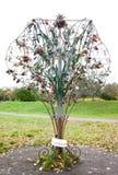 Tree with honeymooners locks in park Stock Images