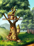 Tree house. Fantasy house built on a tree. Original digital illustration Stock Photo