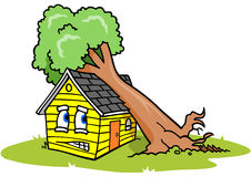 Tree on House. Cartoon of a house under a fallen tree, with an upset facial expression Royalty Free Stock Images