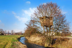 Tree house. A house built in a tree besides a small river. Sunny day, blue sky. The picture was taken in autumn stock image