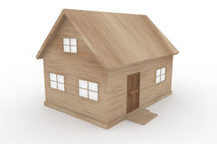 Tree house. Wooden house. Window is visible. Wooden doors. A simple house. Lodges in nature. 3D illustrations Stock Images