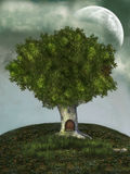 Tree house. In a cloudy nigth royalty free illustration