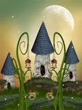 Tree House. In a fantasy garden with a big moon vector illustration