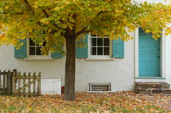 Tree & house. Fall tree overlooking blue door and window shutters Stock Photo