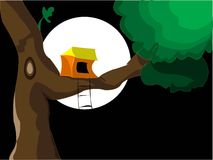 Tree house. House on tree in night with abstract background Stock Images