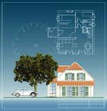 Tree and house Royalty Free Stock Photos