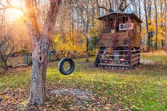Tree house in autumn garden Royalty Free Stock Images
