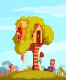 Tree House With Children Background. Tree house with ladder and joyful children during games on blue sky background cartoon vector illustration Stock Photo