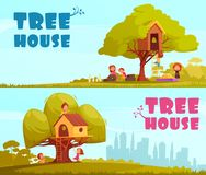 Tree House Children Horizontal Banners. Tree house with children on blue sky background set of horizontal cartoon banners isolated vector illustration Royalty Free Stock Photos
