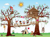 Tree house with children. Illustration of tree house with happy children Stock Images