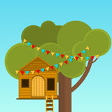 Tree House children's games. Playhouse on the tree. Secret place Royalty Free Stock Photo