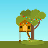 Tree House children's games. Vector Playhouse on the tree. Secret place. Royalty Free Stock Photo