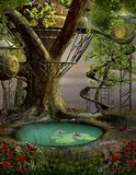 Tree house. Enchanted nature series - Tree house stock illustration