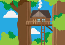 Tree house in a forest Stock Photos