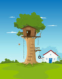 Tree House In Garden Backyard Royalty Free Stock Photography