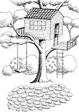 Tree house graphic art black white landscape illustration. Vector Royalty Free Stock Photography
