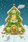 Tree house. Happy tree house with father frost and snowmen Royalty Free Stock Photography