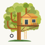 Tree house. House on tree for kids. Royalty Free Stock Images