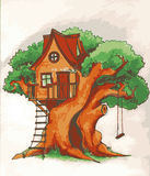 Tree house. House on tree for kids. Children playground with terrace, swing and ladder illustration. Tree house. House on tree for kids. Children playground with Stock Photography