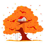 Tree house  illustration. In flat style. Hut on the tree. Autumn tree with red, orange and yellow leaves. Leaf fall. Golden autumn. Advertisements, signs Stock Photography